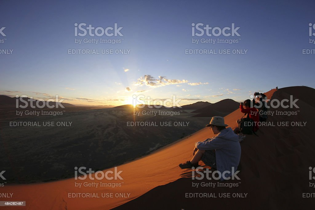 Namibia: Watching the Sunrise from Dune 45 - Namib Desert stock photo