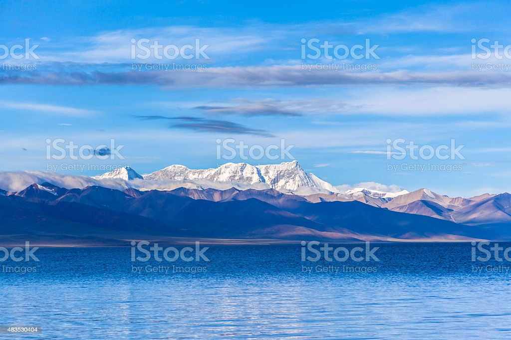 Namtso Lake and Nyenchen Tanglha Mountains stock photo