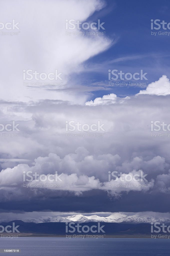 Namtso Lake and snow mountain under the cloud stock photo