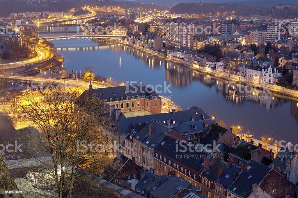 Namur at night stock photo
