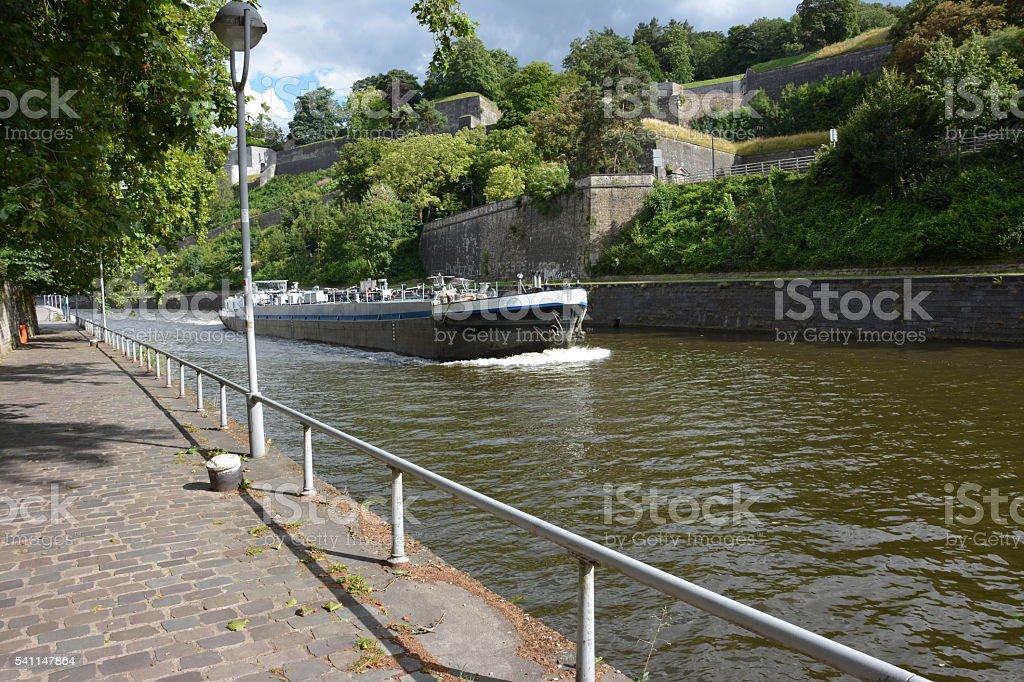 Namur, Belgium. View on Sambre riverside and citadel stock photo