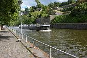 Namur, Belgium. View on Sambre riverside and citadel