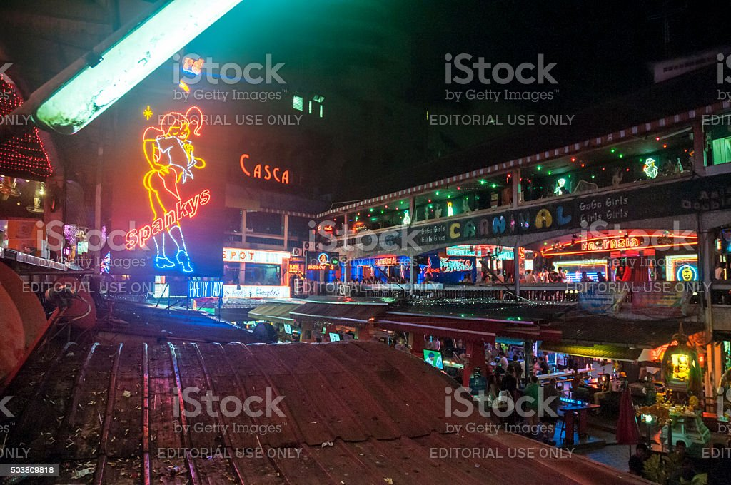 Nana Entertainment Plaza Illuminated At Night In Bangkok, Thailand stock photo