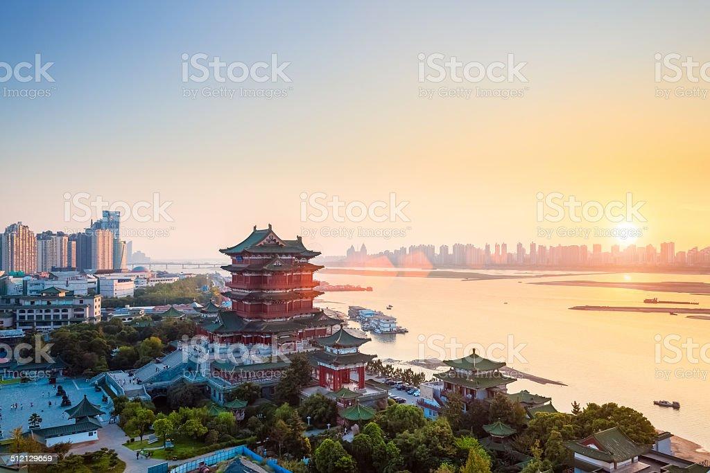 nanchang tengwang pavilion at dusk stock photo