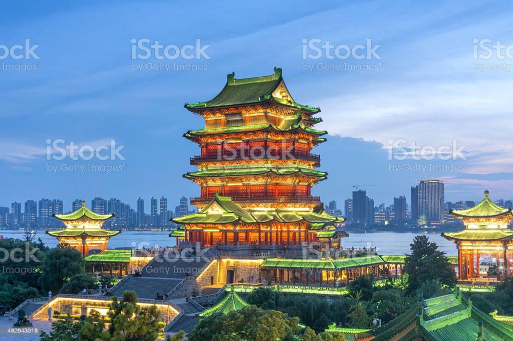 nanchang tengwang pavilion at night stock photo