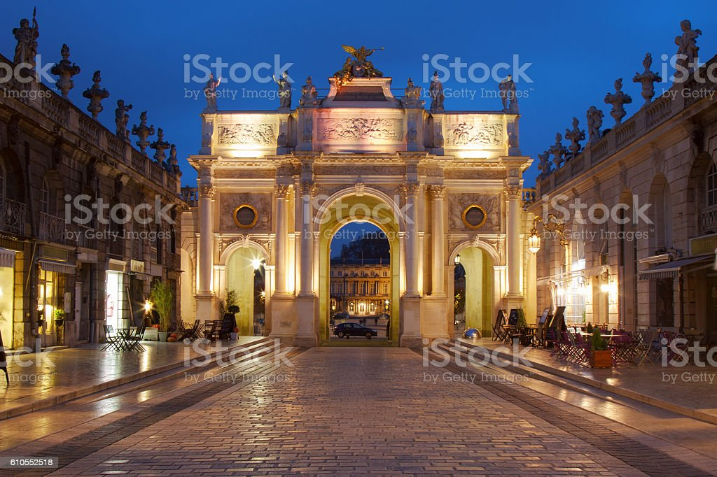 Nancy, France: Arc in Place Stanislas at dusk stock photo