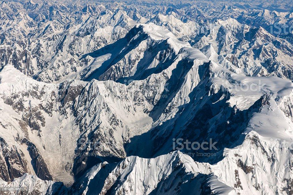 Nanga Parbat, Pakistan mountains along the way to Osaka stock photo
