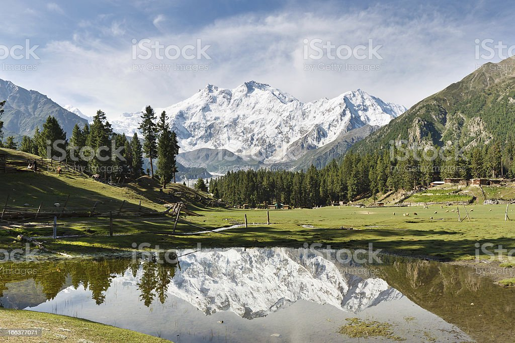 Nanga Parbat Reflection, Himalaya, Pakistan stock photo
