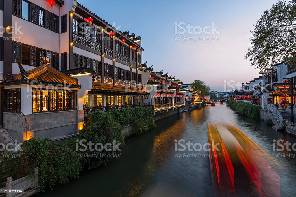 Nanjing Confucius Temple and boat on the River stock photo