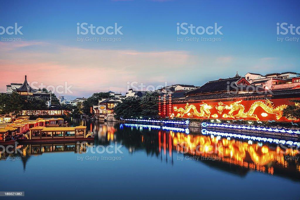 nanjing confucius temple in nightfall stock photo