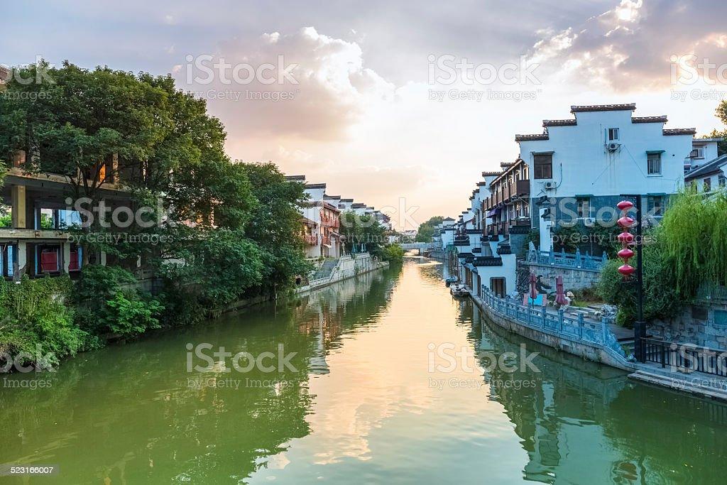 nanjing qinhuai river in sunset stock photo