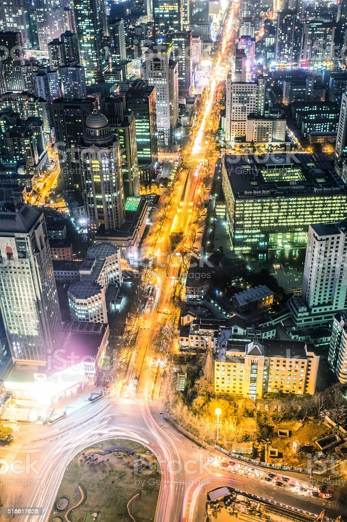 Nanjing skyline at night stock photo