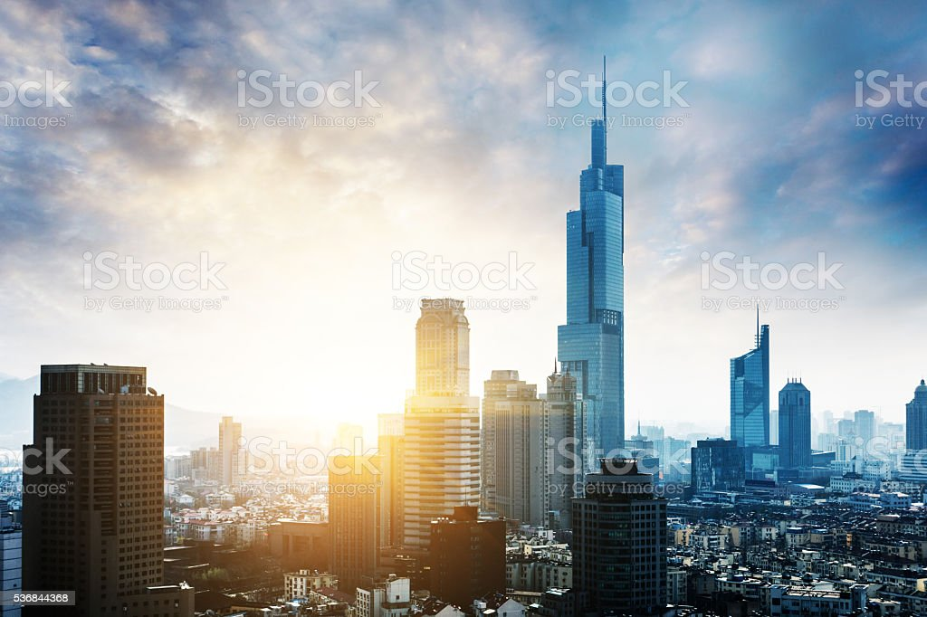 Nanjing skyline with sunset,China stock photo