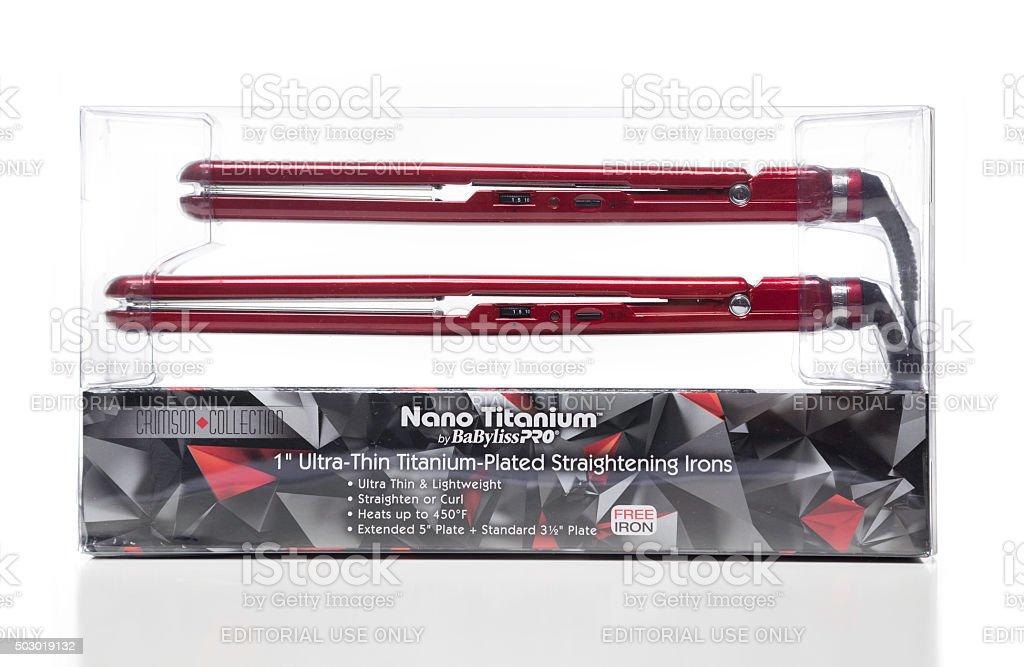Nano Titanium BaBylissPRO ultra-thin titanium-plated straighteni stock photo