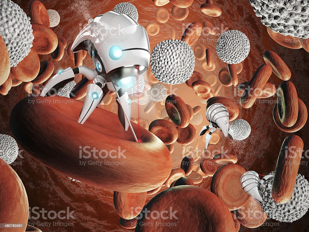 Nanorobot surgery stock photo