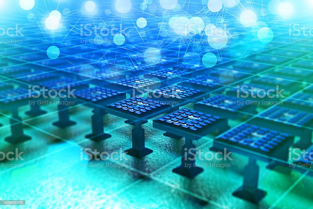 Nanotechnology based computer board with futuristic microprocessor components stock photo