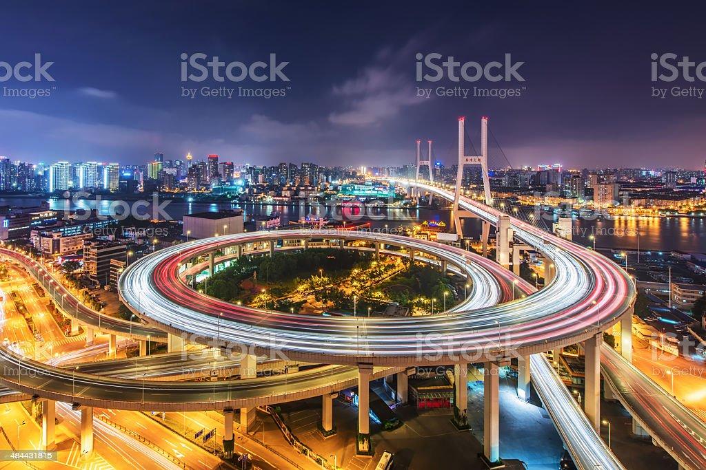 Nanpu Bridge at night stock photo