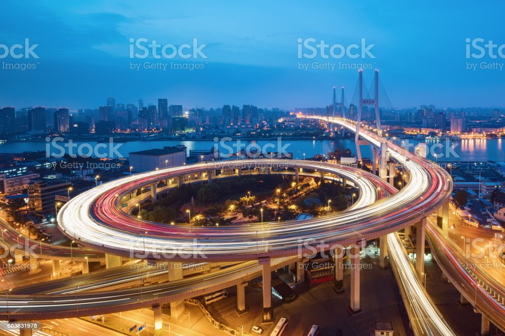 Nanpu Bridge at Sunrise stock photo
