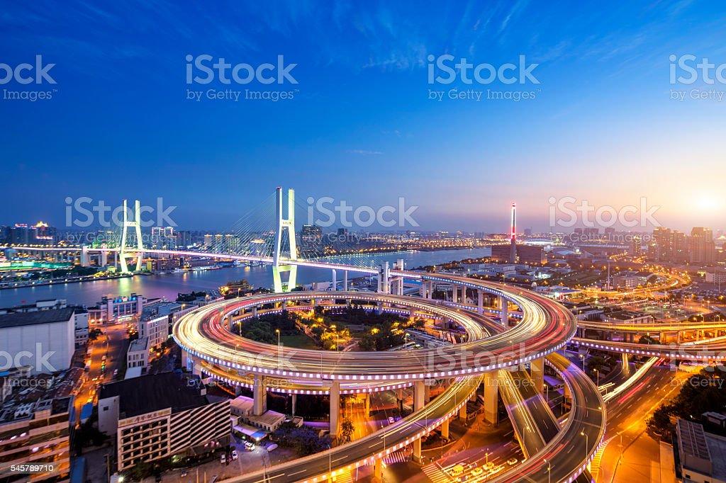 Nanpu Bridge at Sunset, Shanghai stock photo