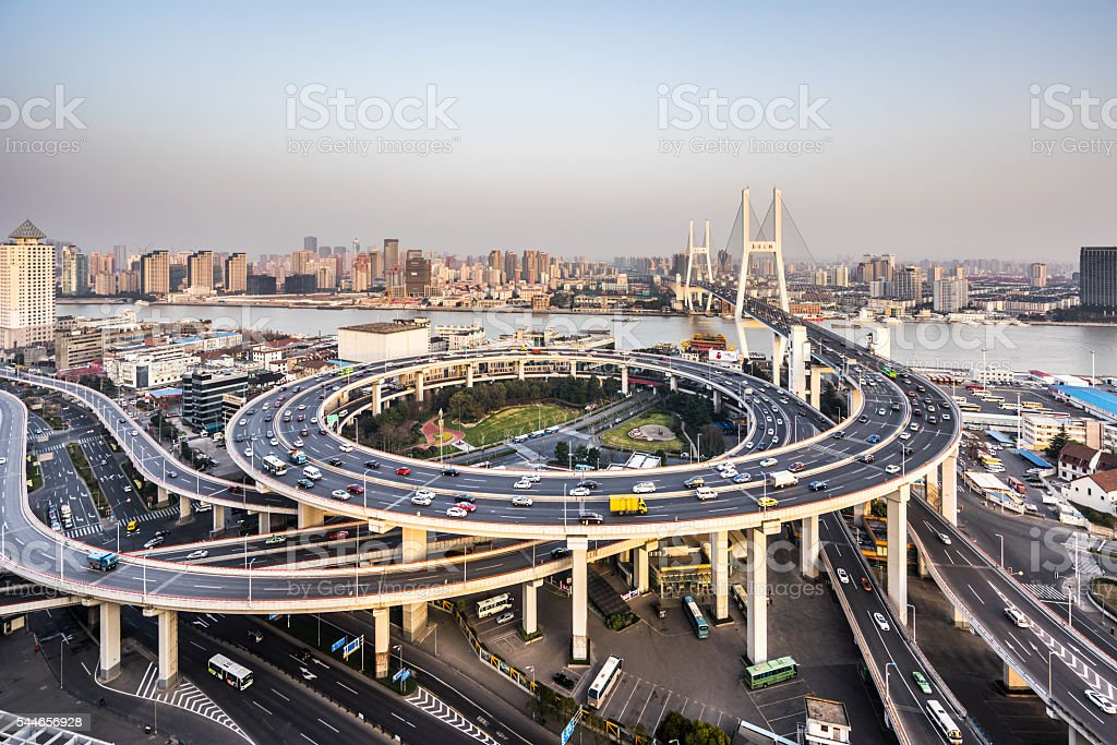 Nanpu Bridge in Shanghai stock photo