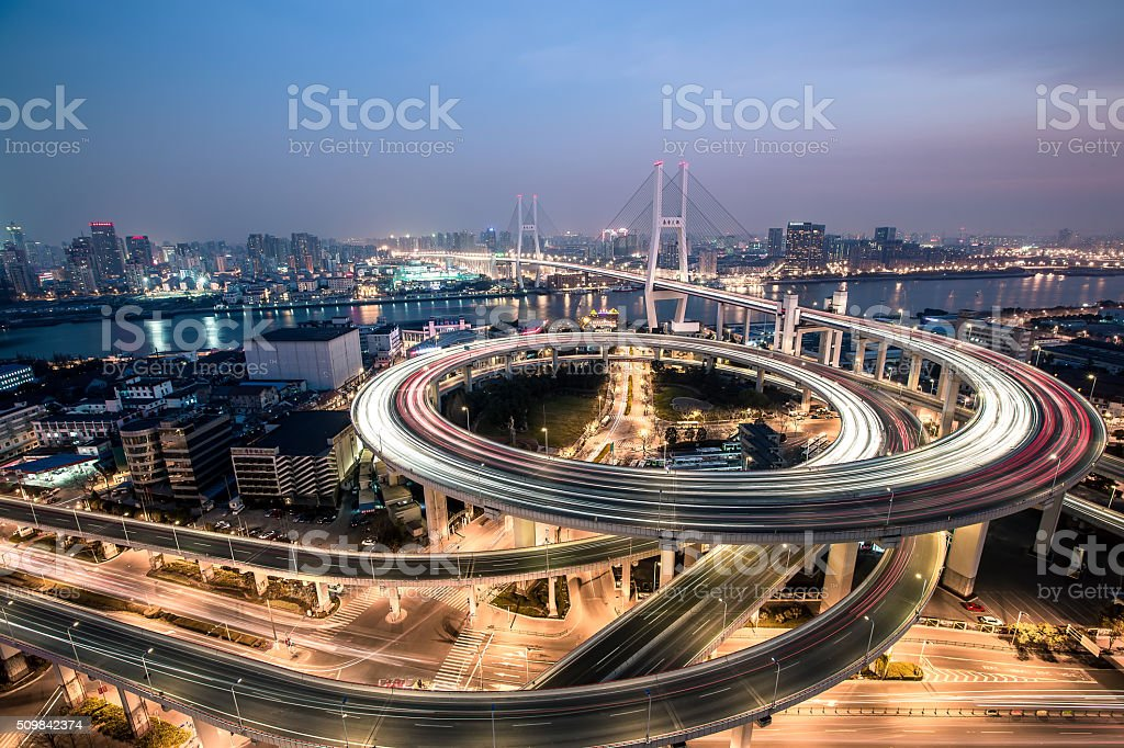 Nanpu bridge stock photo