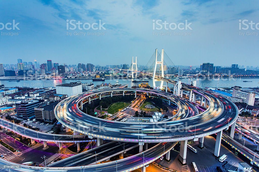 Nanpu Bridge Traffic in Shanghai,China stock photo