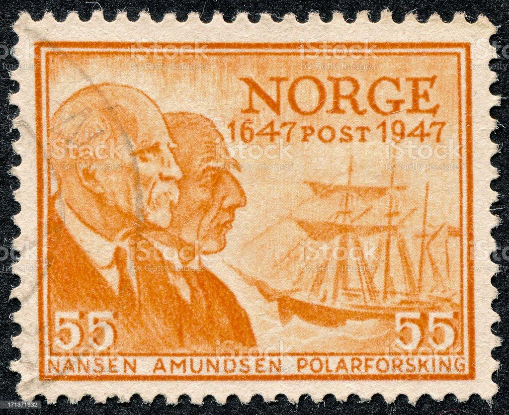 Nansen And Amundsen Stamp stock photo