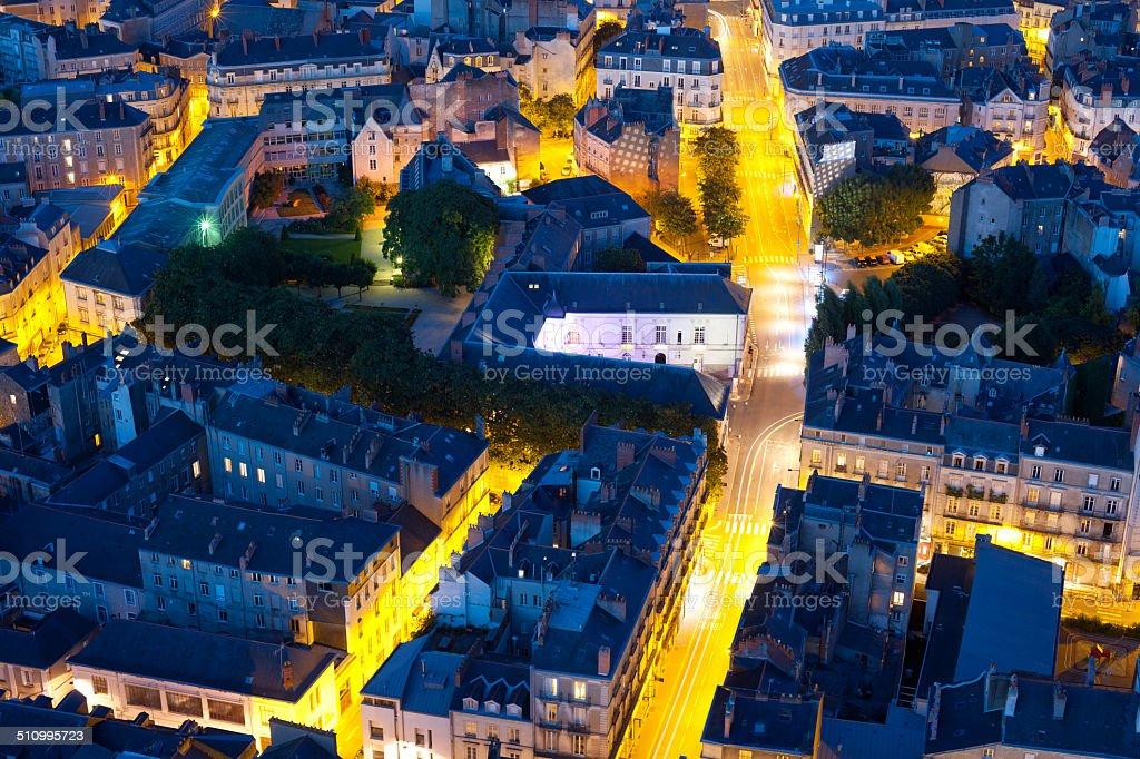 Nantes at a summer night stock photo
