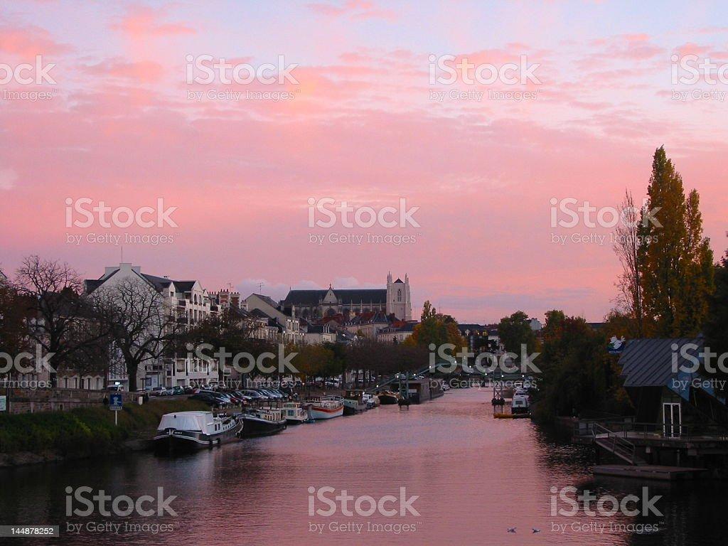 Nantes at the sunset stock photo