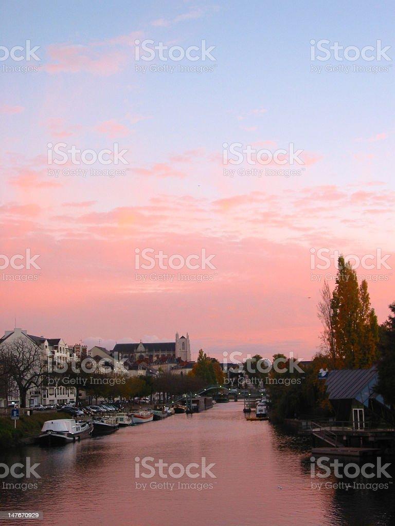 Nantes at the sunset (2) stock photo