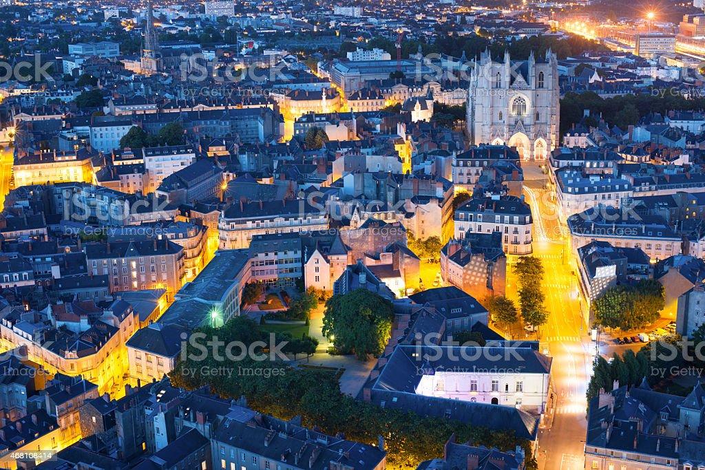 Nantes city at a summer night stock photo