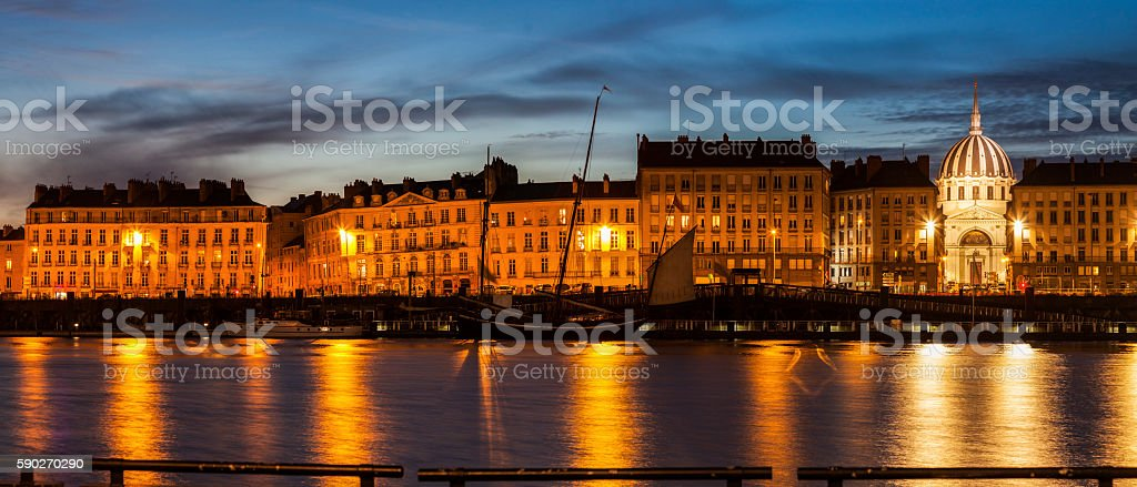 Nantes panorama across Loire River stock photo