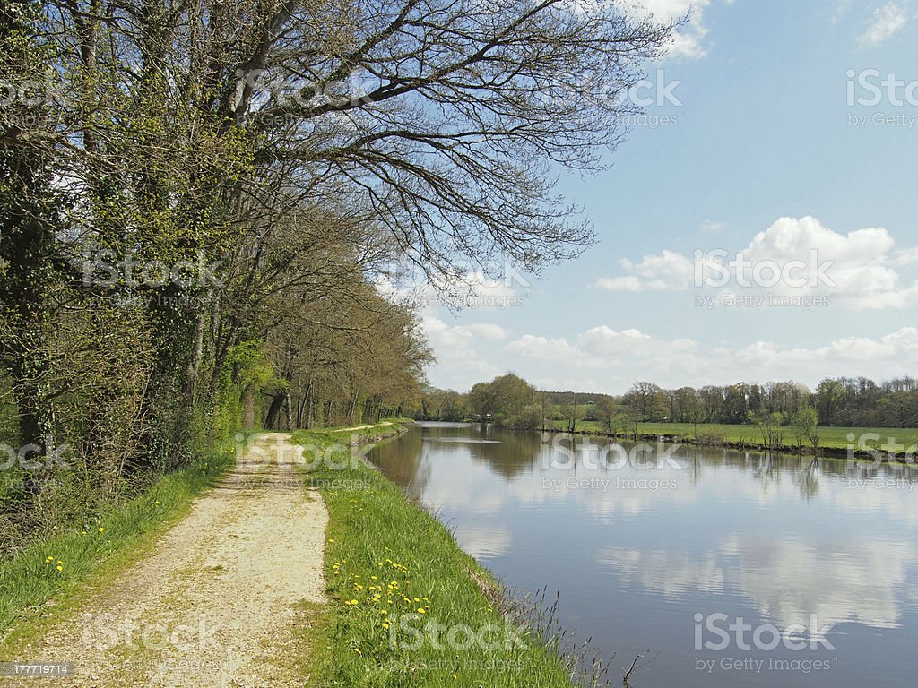 Nantes to Brest canal in spring, France stock photo