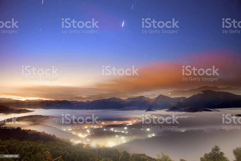 Nantou sunrise, Jinlongshan, Taiwan royalty-free stock photo