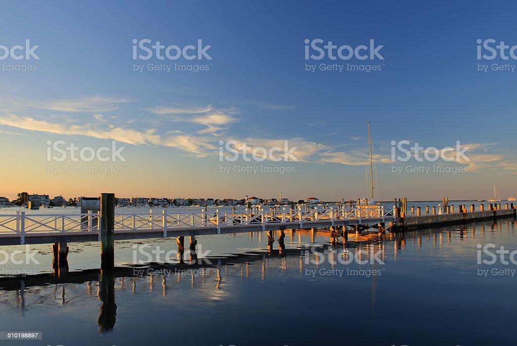 Nantucket Downtown Dock at Sunset stock photo