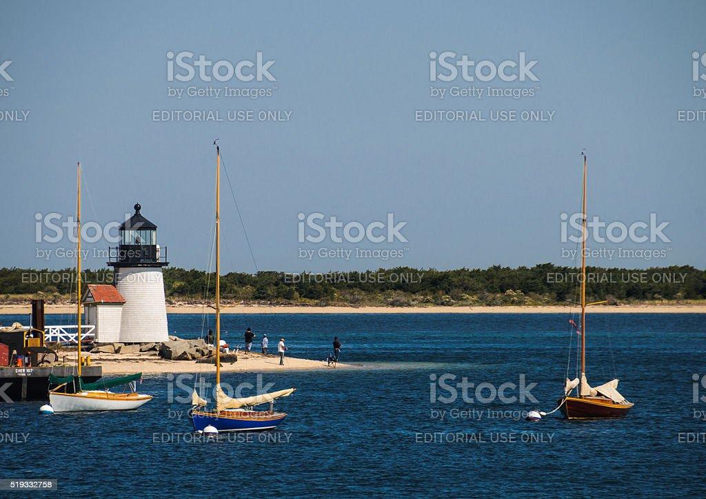 Nantucket Harbor Moorings stock photo
