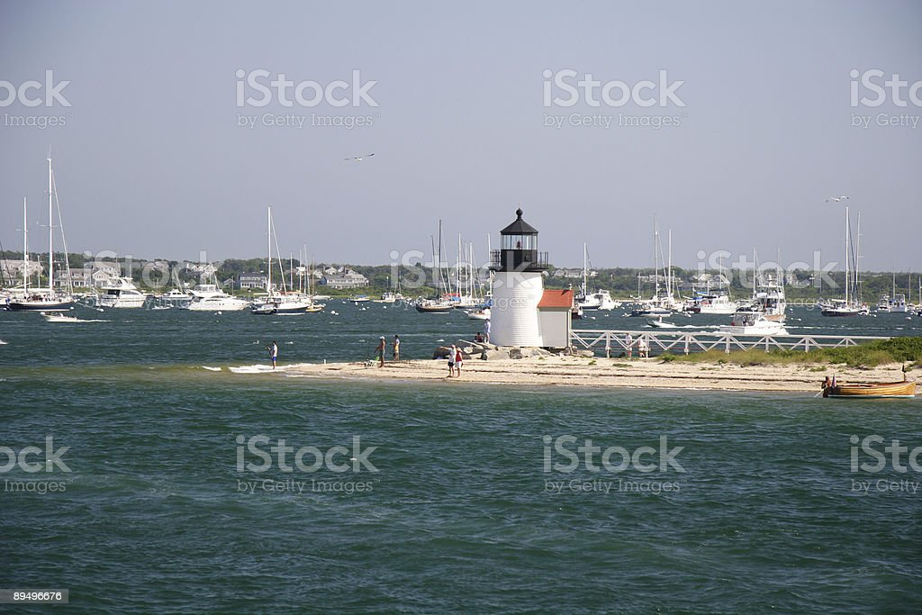 Nantucket summer day at Brant Point lighthouse royalty-free stock photo