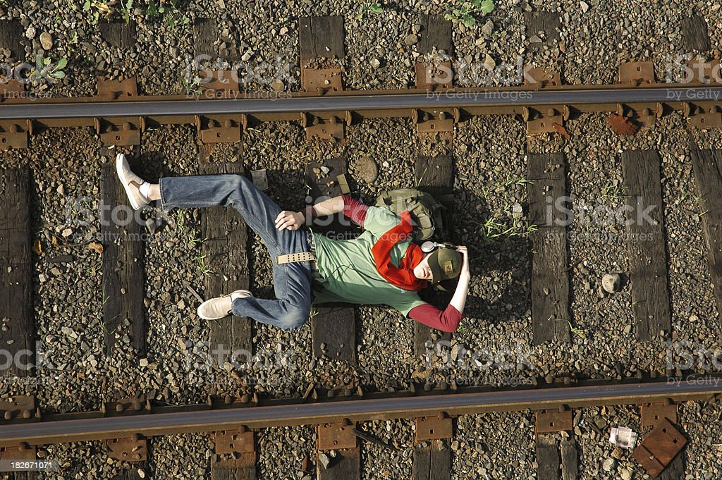 nap on tracks royalty-free stock photo