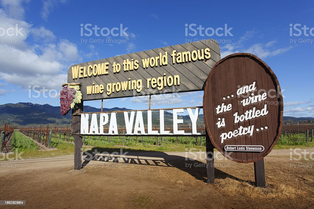 Napa Valley Sign stock photo