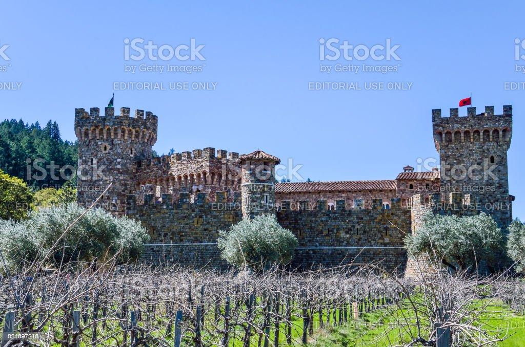 Napa Valley vineyard castle called Castello Di Amorosa in California with grapevine rows stock photo