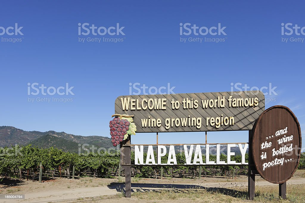 Napa Valley Welcome Sign royalty-free stock photo