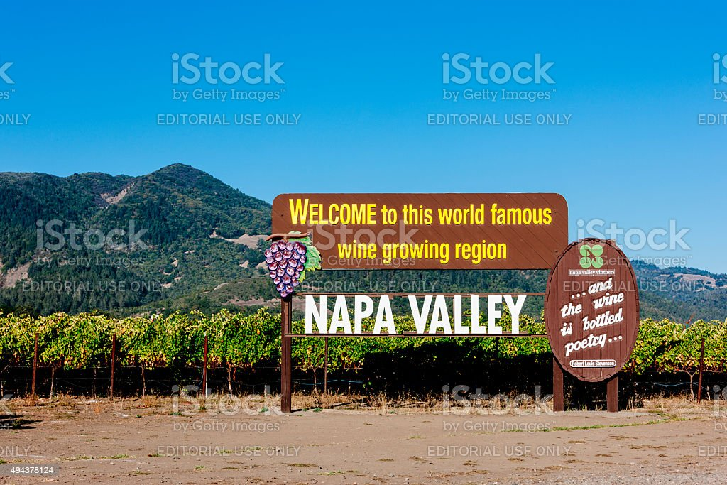 Napa Valley wine sign stock photo