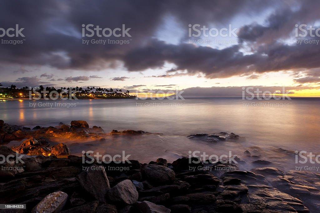 Napili Bay At Dusk, Maui stock photo