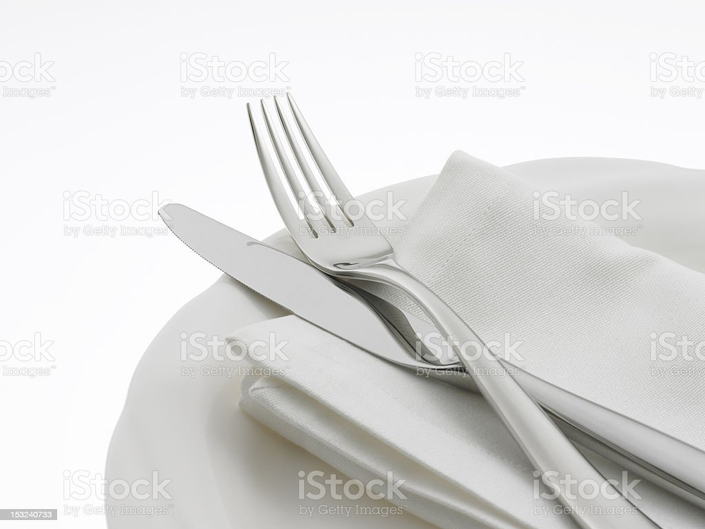 Napkin and Flatware on dinner plate royalty-free stock photo