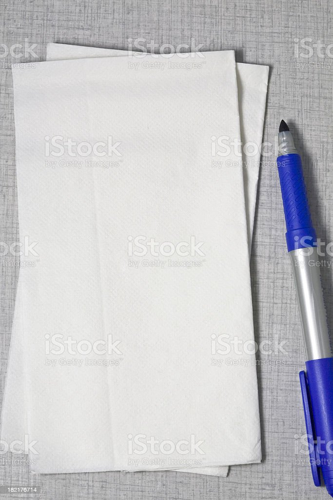 Napkin and Pen stock photo
