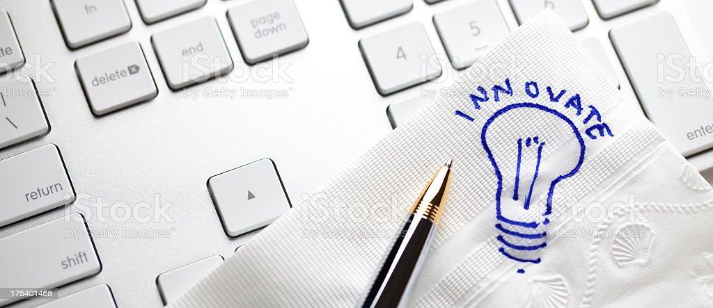 Napkin Drawing: Innovate stock photo