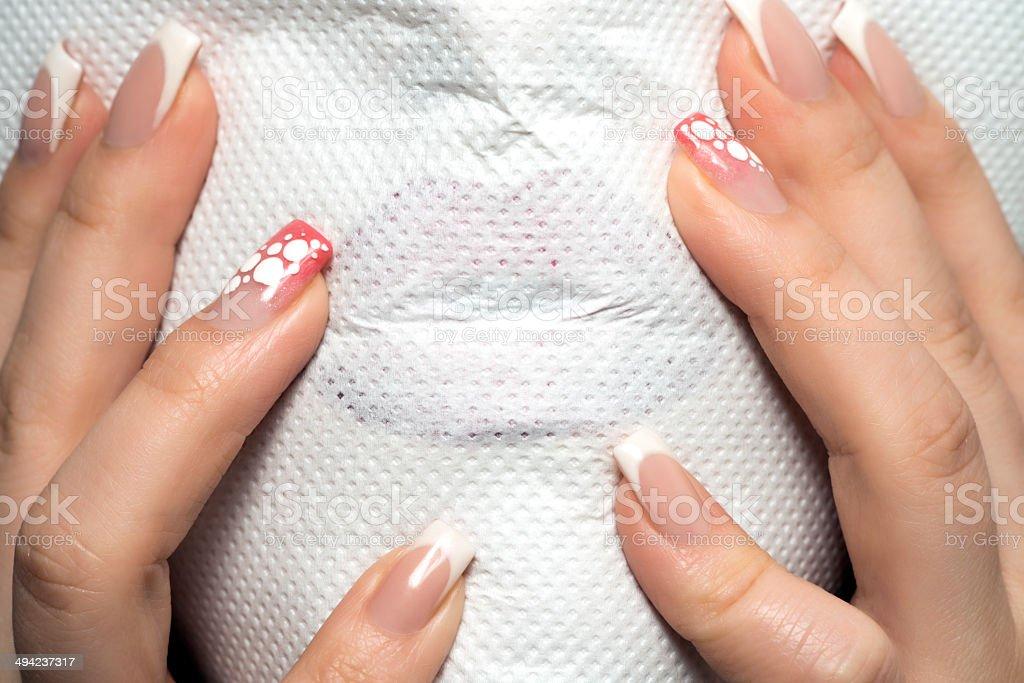 napkin on lips stock photo