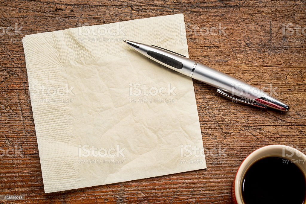 napkin, pen and coffee stock photo