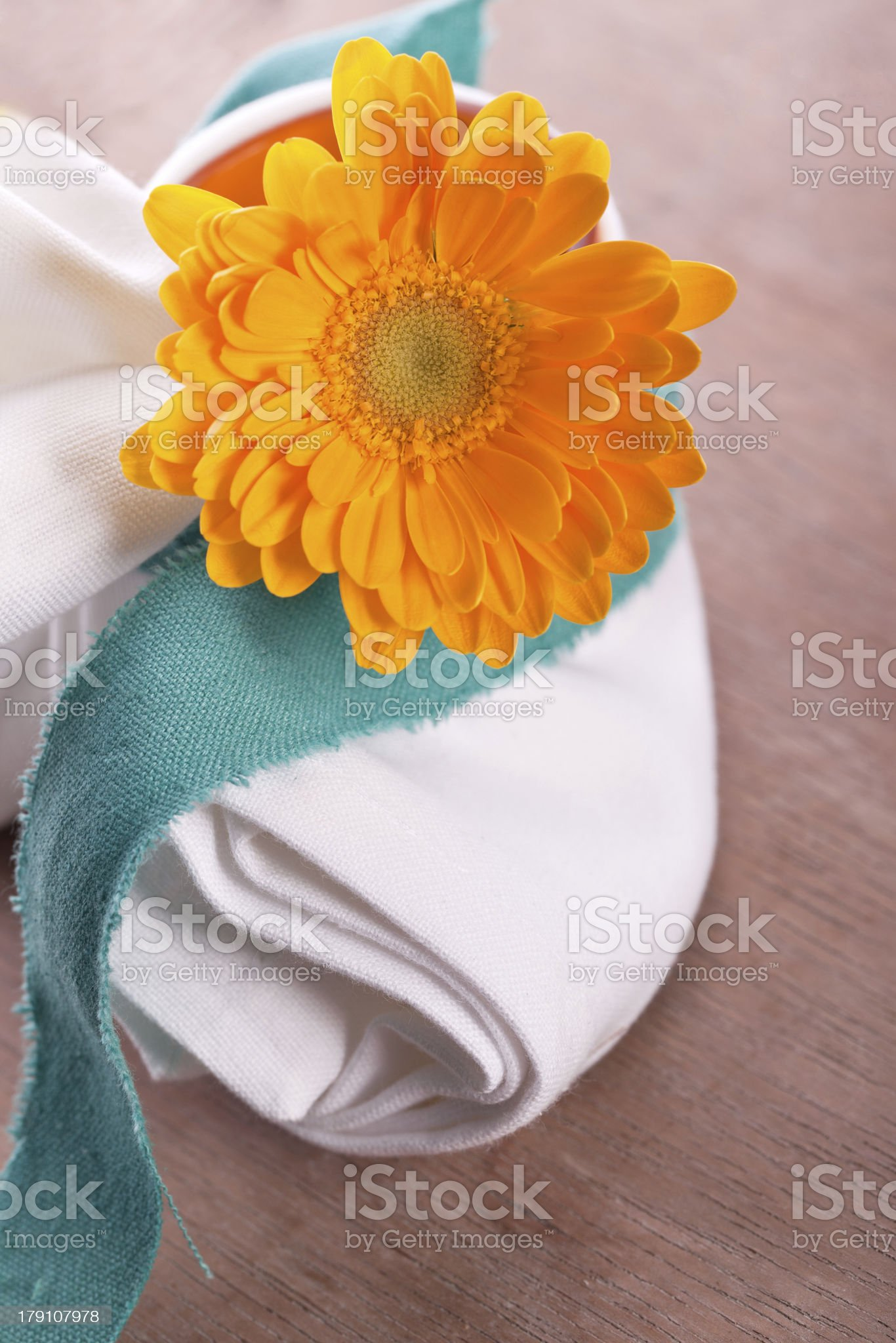 napkin with marguerite flower royalty-free stock photo