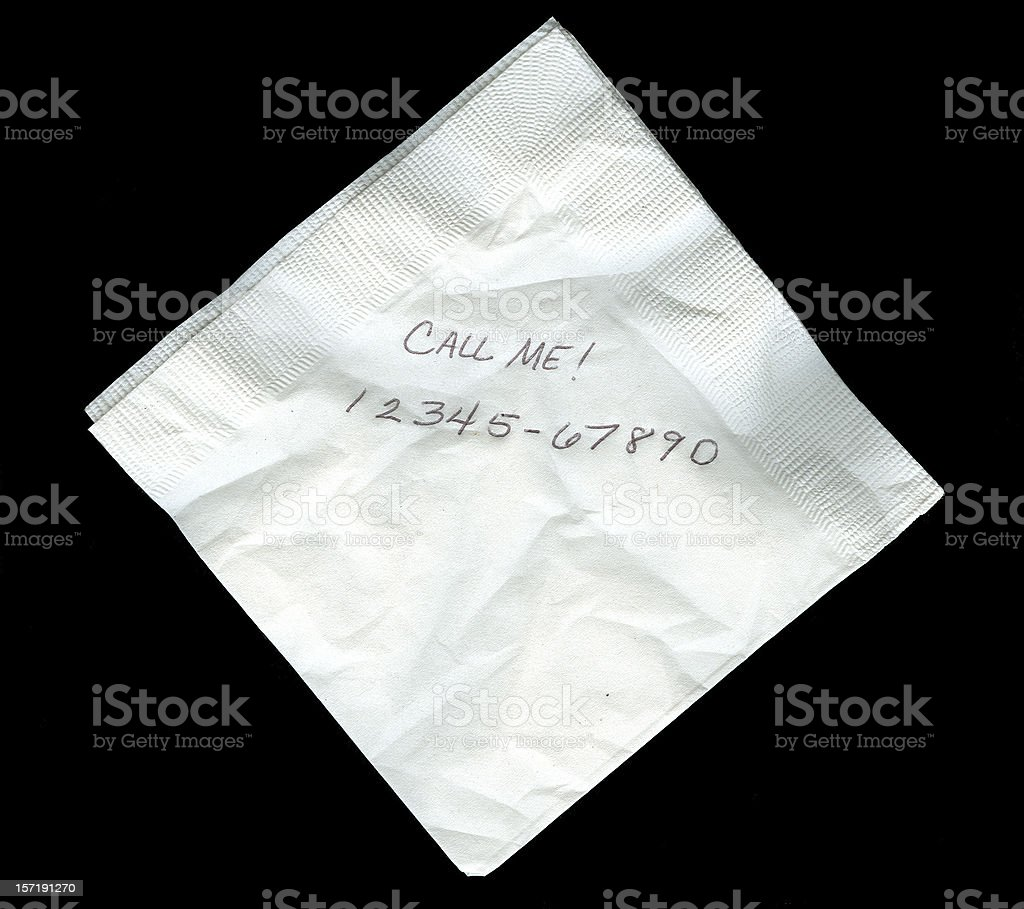 Napkin with Numbers (Create Your on Phone Number) stock photo
